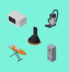 Isometric appliance set of air extractor vector