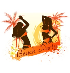 Beach party background with two dancing girls vector image