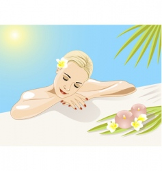 resting girl in swimming pool vector image