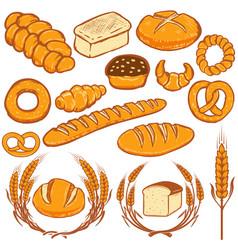 Set of bread  fresh bakery design vector