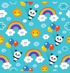 Panda bear rainbows clouds sky kids pattern vector