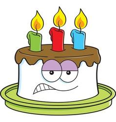 Cartoon angry birthday cake vector