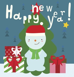 Winter holiday card with cute snowman vector
