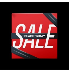 Sale red poster with ribbon on the box vector