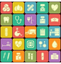 Set of flat medical icons isolated on multicolor vector