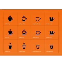 Coffee mug icons on orange background vector