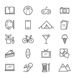 Hobbies and activities icons line vector