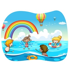 Children swimming in the ocean vector