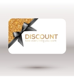 Golden discount card with black ribbon and bow vector