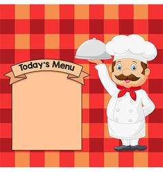Cartoon chef holding a silver platter vector
