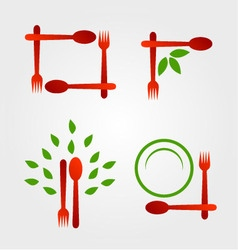 Set of logos for organic cuisine vector