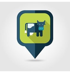 Cow flat pin map icon map pointer vector