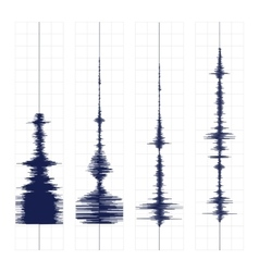 Seismogram waves print vector