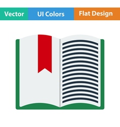 Flat design icon of open book with bookmark vector