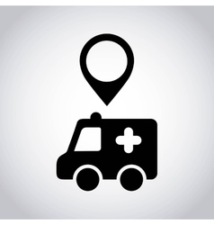 ambulance pointer location icon vector image