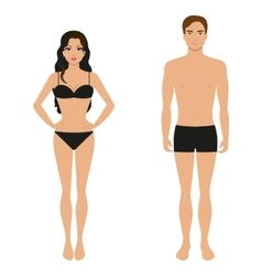 Athletic girl and a guy in his underwear vector