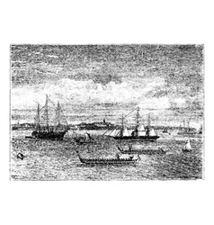 Auckland harbor vintage engraving vector image vector image