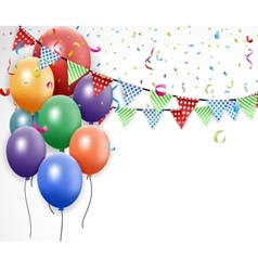 Birthday design with balloon and confetti vector