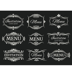 Calligraphic decorative frames for menu and vector image vector image