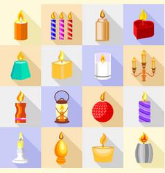 Candle forms icons set flame light flat style vector