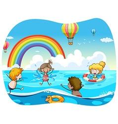 Children swimming in the ocean vector