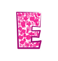 english pink letter e on a white background vector image