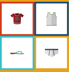Flat icon garment set of beach sandal t-shirt vector