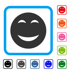Happy smiley framed icon vector