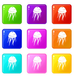 Jellyfish icons 9 set vector