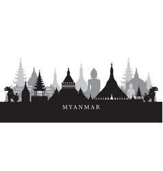 myanmar landmarks skyline in black and white vector image vector image