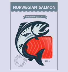 Packing of smoked salmon vector
