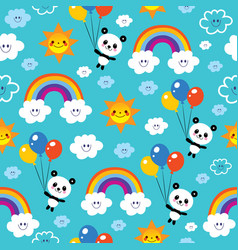 Panda bear rainbows clouds sky kids pattern vector