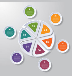 Pie chart or area chart diagram infographics six vector