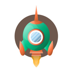 Round space rocket with sharp end flies up vector
