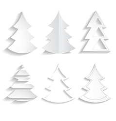 set of paper trees vector image vector image