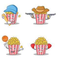 Set of popcorn character with baseball cowboy vector