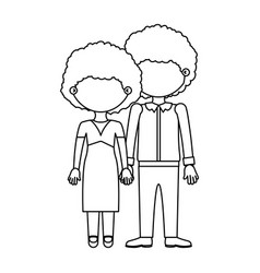 Sketch silhouette faceless curly couple taken vector