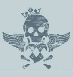 Skull with heart and wings vector