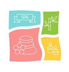 Spa and recreation background with icons in linear vector image vector image