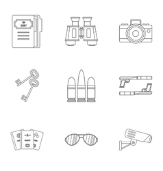 Spy icons set outline style vector