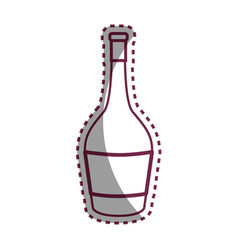 Sticker line bottle of wine tasty beverage icon vector