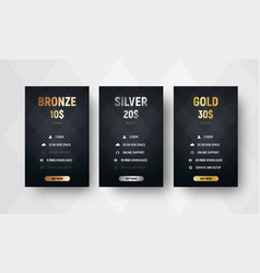 template of premium price tables with a black vector image