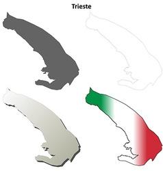 Trieste blank detailed outline map set vector image vector image