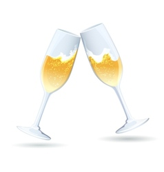 Two flutes of golden bubbly champagne vector image