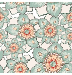 Vintage green flower seamless texture vector image vector image