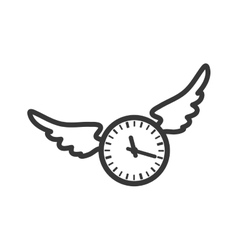 Clock wings circle time traditional icon vector
