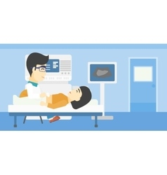 Patient during ultrasound examination vector