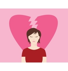 Women broken heart with crying expression and vector