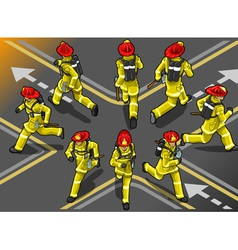 Isometric runner firefighter in eight position vector