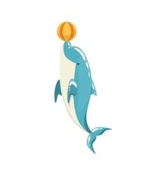 Blue bottlenose dolphin balancing a ball for vector